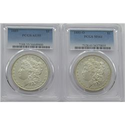 PCGS Morgan Dollars 1881-O MS 61, 1889 AU55