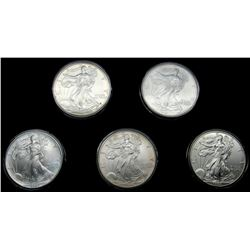 5 - AMERICAN SILVER EAGLES, 1994 THRU 1998