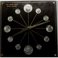 SILVER COINAGE CLOCK - ALL 1964 BU COINS