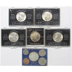 5- 1964 Kennedy BU Half Dollars; 1966 BU Year