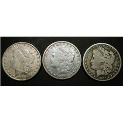 1883, 1885-O, 1887 MORGAN DOLLARS CIRC