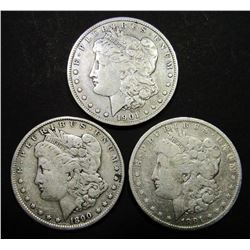 1890, 1891-O, 1901-O MORGAN DOLLARS CIRC