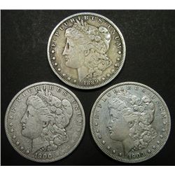 1900-O, 1903, 1889-O MORGAN DOLLARS CIRC