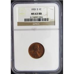 1931-S 1C Wheat Penny NGC MS63 RB One Cent