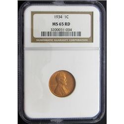 1934 1C MS65 RD NGC Wheat Cent One Cent
