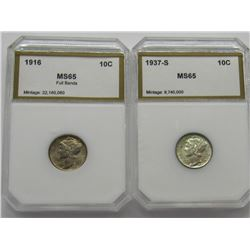 PCI 1916 Mercury Dime MS65 Full bands and a 1937-S