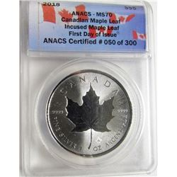 2018 CANADIAN MAPLE LEAF ANACS MS70