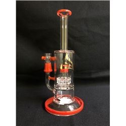 "EVOLUTION SUPER CELL 9.5"" RED GLASS BONG W/ BOWL"