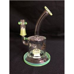 "EVOLUTION HALO 6.75"" APPLE GREEN GLASS BONG W/ BOWL"