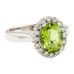 2.92 ctw Green Tourmaline And Diamond Ring - 14KT White Gold