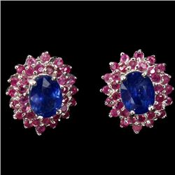 Natural Top Royal Blue Sapphire Ruby Earrings