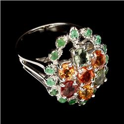Natural Top Fancy Sapphire & Emerald Ring