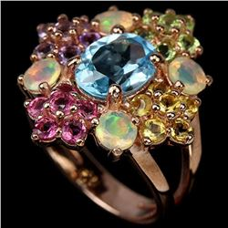 Natural TOPAZ OPAL TOURMALINE CITRINE AMETHYST Ring