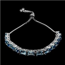 Natural Top Swiss Blue Topaz Bracelet