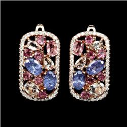 Natural Top Rich Pink Tourmaline & Tanzanite Earrings