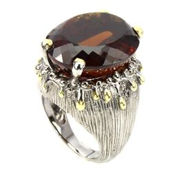 Handmade Oval 23x19mm Cognac Quartz 2 Tone Ring