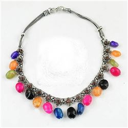 BEAUTIFUL CERTIFIED MUTI COLOR ONYX NECKLACE