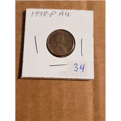 1938 P Wheat Penny AU