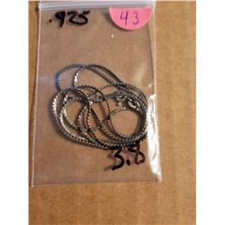 925 Silver Necklace Total Weight 3 .8 Grams