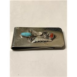 Beautiful Sterling Silver Turquoise red Coral Native American Money Clip