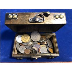 Wooden Treasure Chest Box FILLED with US and World Coins 1.5lbs
