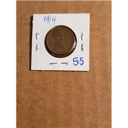 2 1914 Wheat Pennies In One Coin Sleeve