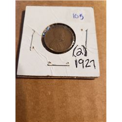 2 1927 Wheat Pennies In One Coin Sleeve