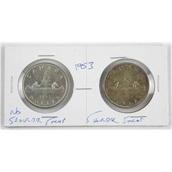 Lot (2) Canada Silver Dollars: 1953 S.S. and N.S.S