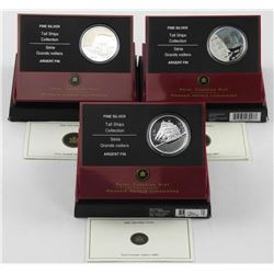 Lot (3) .9999 Fine Silver $20.00 Coins 'Tall Ships