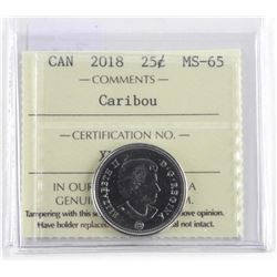 2018 Canada 25 Cent Caribou MS-65. ICCS