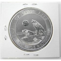 2016 .9999 Fine Silver $2.00 Coin 'Howling Wolves'