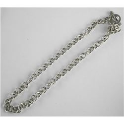 Estate 925 Sterling Silver Choker Necklace - Circl