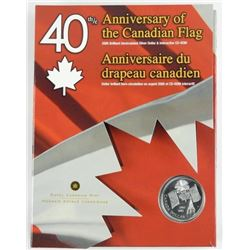 2005 $1 Canadian Flag, 40th Anniversary - Pure Sil