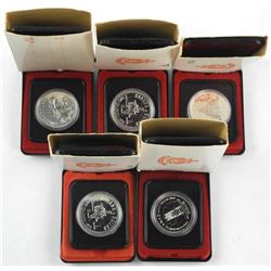 Lot (5) Cased Silver $1.00 Coins