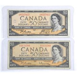 Lot (2) Bank of Canada 1954 - Fifty Dollar Notes.