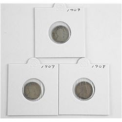 Lot (3) Edward 10 Cent 1907-1908-1909