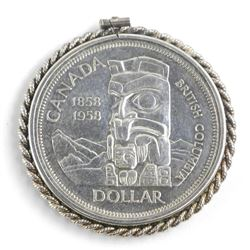 Estate 1958 Canada Silver dollar with 925 Sterling Silver Pendant Frame