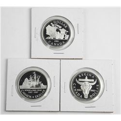 Lot (3) Proof Silver Dollars: 1981-1982-1987