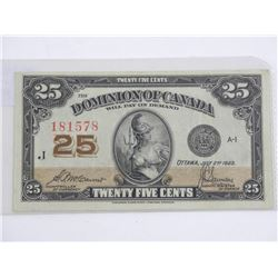 Dominion of Canada 1923 25 Cent Note. DC-24c