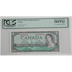 Bank of Canada 1954 * Replacement 1.00 Covered Bridge Collection 'PCGS' UNC 58 (CF)