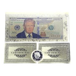 Lot 23kt Gold Leaf - 100.00 Note with Donald Trump and Coin