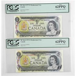 Lot (3) Bank of Canada 1973 * Replacement 1.00 (AA) Covered Bridge Collection in Sequence UNC 62. PC