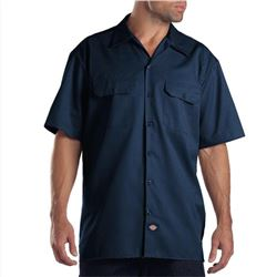 Dickies Mens Short Sleeve Work Shirt- Navy- Small