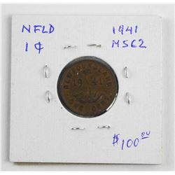 (LUN 14) 1941 NFLD One Cent MS62. (SXR)