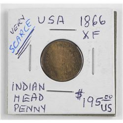 (LUN 11) 1866 USA Indian Head penny, Scarce Year (