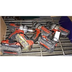 3 MILWAUKEE CORDLESS DRILLS W/ BATTERIES ALL WORKING