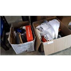 BOX OF LINENS AND HOME DECOR