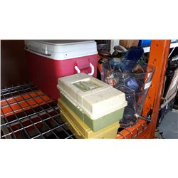2 TACKLE BOXES W/ CONTENTS, COOLER, AND DRINK DISPENSER