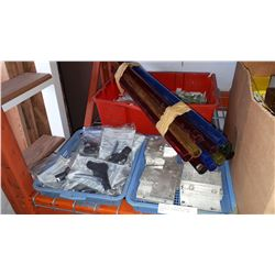 LOT OF AIR BLOW GUNS, CORNER BRACKETS, COLOURED PIPE, AND MORE