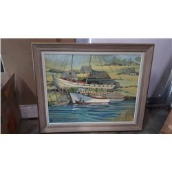 SIGNED OIL ON BOARD SHIP IN FRAME BY ANNE MARIE POITRAS